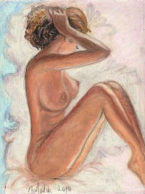 Original Oil Pastel Sexy Woman  Art Print by Natalia Krestianinova