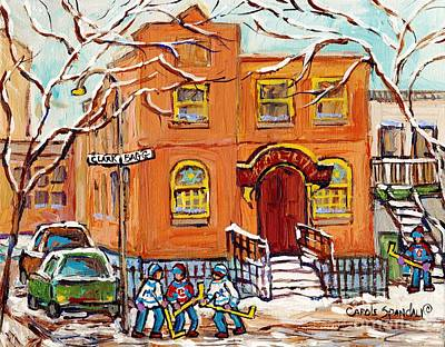 Painting - Bagg And Clark Synagogue Painting For Sale Montreal Hockey Kids Winter City Scene Artwork C Spandau by Carole Spandau