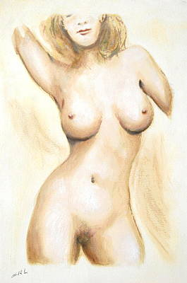 Art Print featuring the painting Original Painting Of A Nude Female Torso by G Linsenmayer