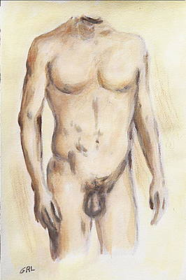 Art Print featuring the painting Original Painting Of A Nude Male Torso by G Linsenmayer