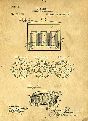 Canning Jar Photograph - Original Patent For Canning Jars by Edward Fielding