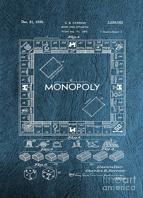 Mixed Media - Original Patent For Monopoly Board Game by Doc Braham