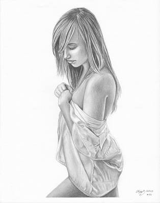 Original Pencil Drawing  Girl Www.olgabell.ca Art Print by Olga Bell
