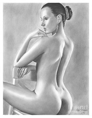 Original Pencil Drawing Nude Woman By Olga Bell Art Print by Olga Bell