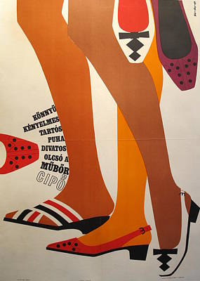 Original Hungarian Art Deco Advertisement For Faux Leather Shoe Poster Original by So Ky