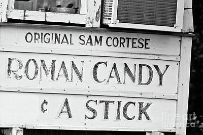 Roman Candy Cart Photograph - Original Roman Candy - Bw by Scott Pellegrin