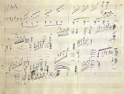Pen Drawing - Original Score Of Beethoven's Moonlight Sonata by Beethoven