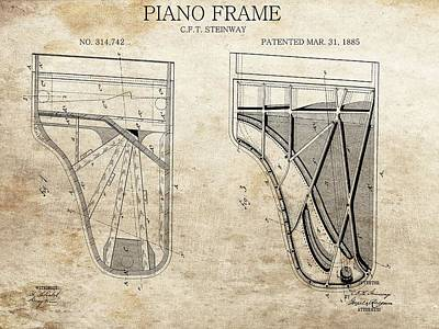 Drawing - Original Steinway Piano Frame Patent by Dan Sproul