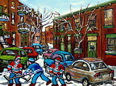 Art Of Hockey Painting - Original Street Hockey Art For Sale Rue Grand Trunk Pointe St Charles Montreal Winter Scenes by Carole Spandau