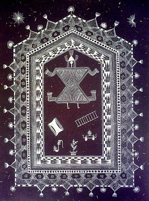 Painting - Original Warli Painting- Wedding Chowk Indian Folk Art Tribal Traditional by Aboli Salunkhe