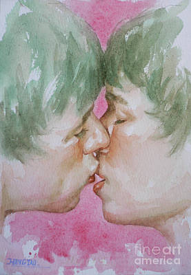 Painting - Original Watercolor Angel Of Kiss On Paper#16-12-5 by Hongtao Huang