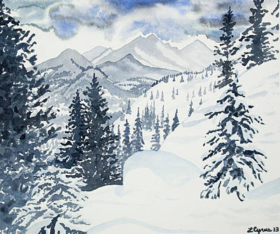 Painting - Original Watercolor - Colorado Winter Landscape by Cascade Colors