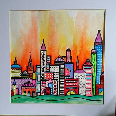 Skylines Photograph - Original #watercolor ..fire In The by Robin Mead