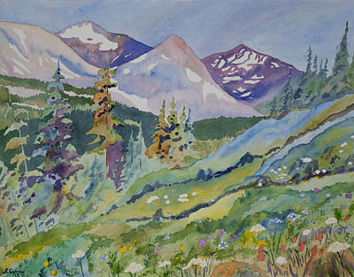 Nederland Painting - Original Watercolor - Indian Peaks Landscape by Cascade Colors