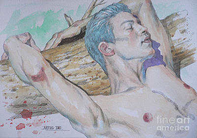 Painting - Original Watercolor Male Nude #1751 by Hongtao Huang