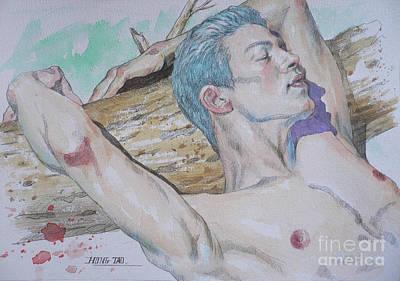 Painting - Original Watercolor Male Nude #1751 by Hongtao Huang