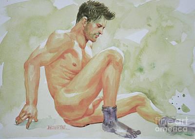 Watercolor On Paper Drawing - Original Watercolor Painting Art Male Nude Men Gay Interest On Paper #12-05-01 by Hongtao Huang