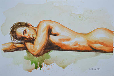 Male Nude Drawing Drawing - Original Watercolor Painting Artwork Male Nude Man Gay Interest On Paper #8-022 by Hongtao     Huang