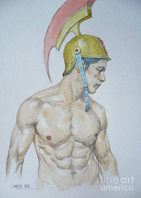 Painting - Original Watercolor Painting Male Nude Man #17511 by Hongtao Huang