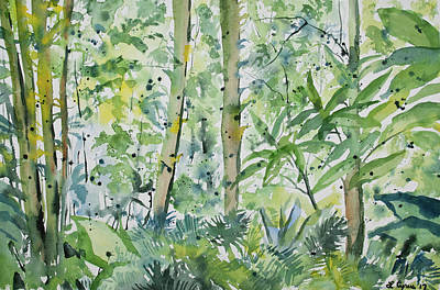 Painting - Original Watercolor - Subtropical Forest by Cascade Colors
