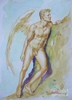 Painting - Original Watercolour Angel Of  Male Nude On Paper#16-10-6-04 by Hongtao Huang