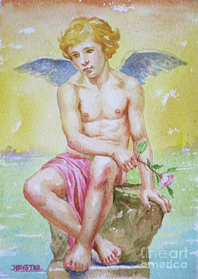 Drawing - Original Watercolour Angel Of Nude Boy On Paper#16-11-2-01 by Hongtao Huang