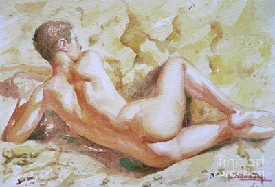 Drawing - Original Watercolour Male Nude Men On Paper#16-11-6 by Hongtao Huang