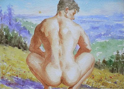 Drawing - Original Watercolour Male Nude Men Outdoor On Paper#16-11-2 by Hongtao Huang