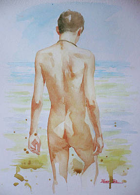 Painting - Original Watercolour Painting Boy Nude On Paper#16-9-19 by Hongtao Huang