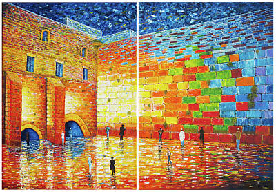 Art Print featuring the painting Original Western Wall Jerusalem Wailing Wall Acrylic 2 Panels by Georgeta Blanaru