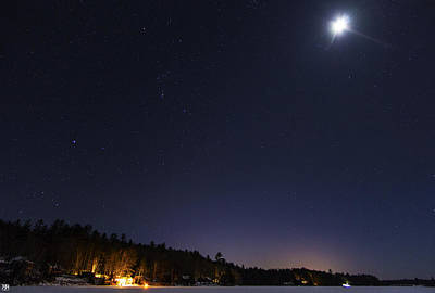Photograph - Orion And The Moon by John Meader