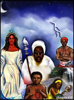 Chango Painting - Orishas by Carmen Cordova