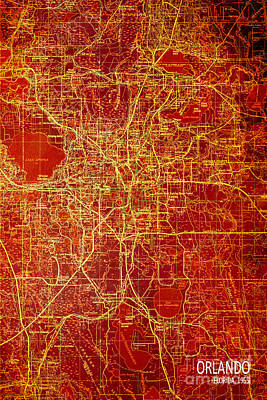 Colorful Abstract Drawing - Orlando Antique Map Red And Yellow by Pablo Franchi