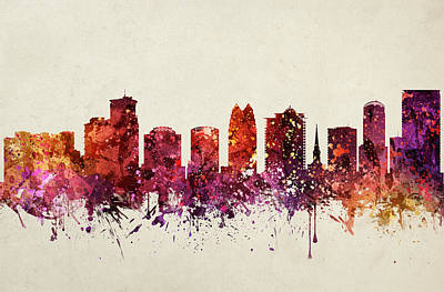 Watercolour Drawing - Orlando Cityscape 09 by Aged Pixel