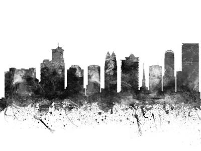 Skylines Drawing - Orlando Florida Cityscape 02bw by Aged Pixel