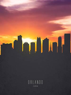 Orlando Florida Sunset Skyline 01 Art Print