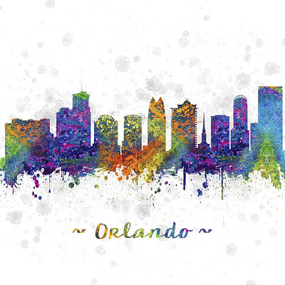 Towns Digital Art - Orlando Florida Skyline Color 03sq by Aged Pixel