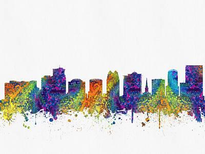 Florida Digital Art - Orlando Florida Skyline Color03 by Aged Pixel