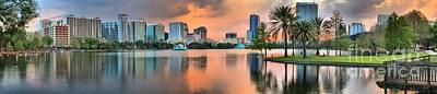 Photograph - Orlando Florida Sunset Panorama by Adam Jewell