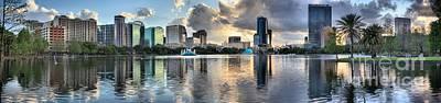 Photograph - Orlando Metallic Sunset Panorama by Adam Jewell