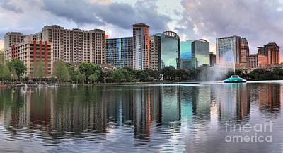 Photograph - Orlando And The Lake Eola Fountain by Adam Jewell