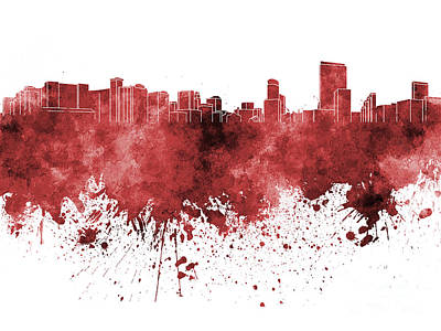 Orlando Painting - Orlando Skyline In Red Watercolor On White Background by Pablo Romero