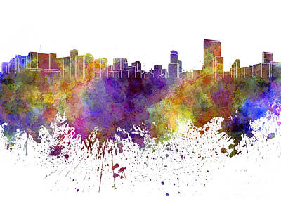 Orlando Painting - Orlando Skyline In Watercolor On White Background by Pablo Romero