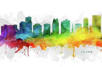 Florida Digital Art - Orlando Skyline Mmr-usflor05 by Aged Pixel