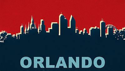 Mixed Media - Orlando Skyline Pop Art by Dan Sproul