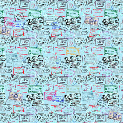 Mixed Media - World Traveler Passport Stamp Pattern - Light Blue by Mark Tisdale