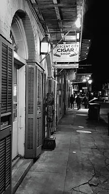 Photograph - Orleans Street Sidewalk At Night - New Orleans - B/w by Greg Jackson