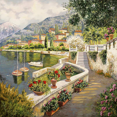 Como Painting - ormeggio a Bellagio by Guido Borelli