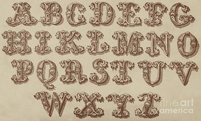 Alphabet Drawing - Ornamental by English School