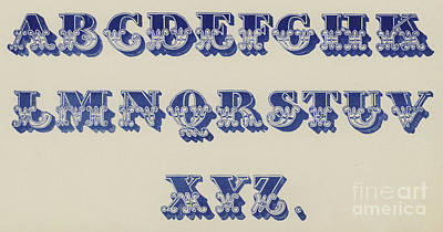Decorative Drawing - Ornamental Fleur De Lis Font by English School